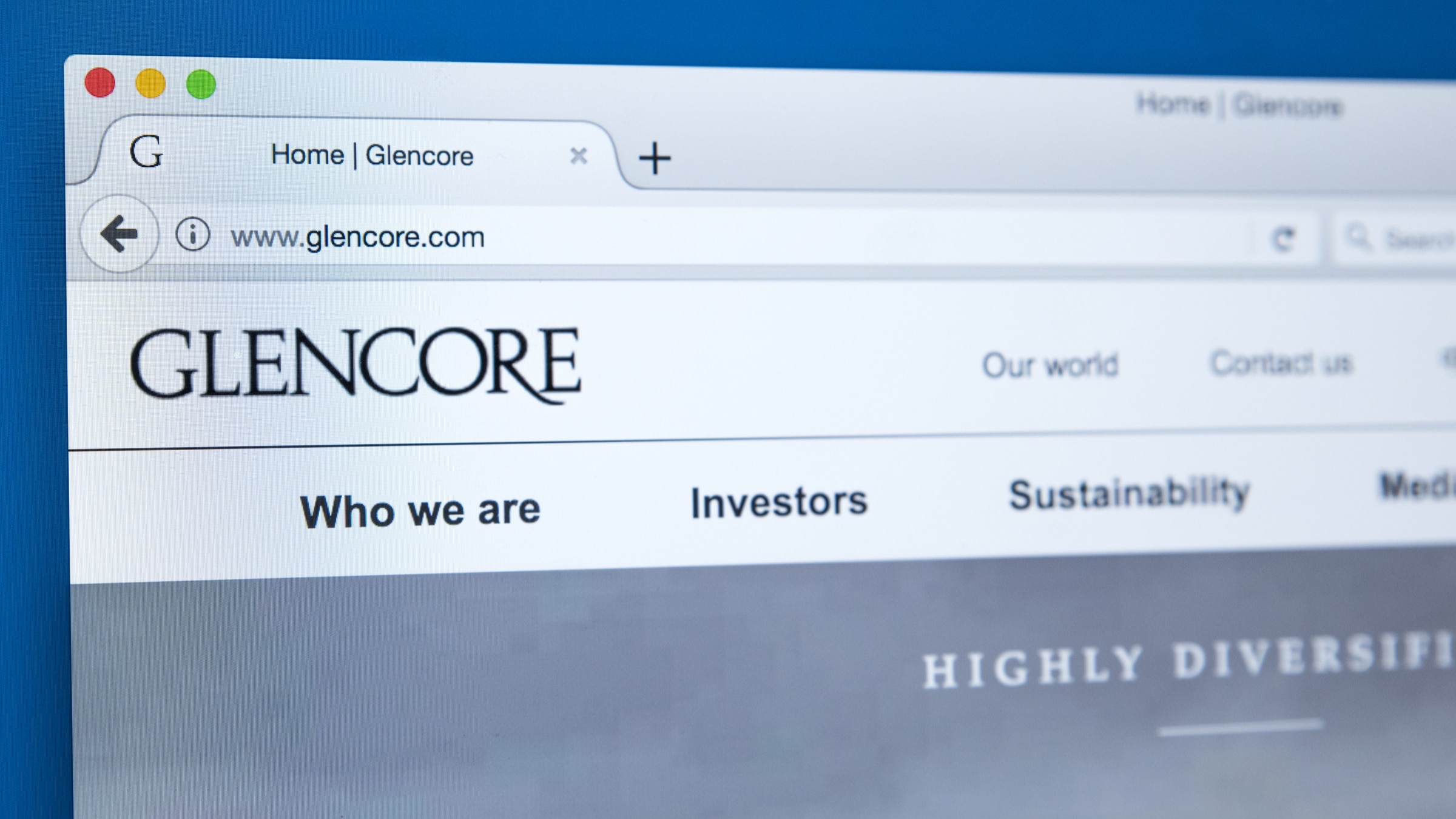 Homepage of the official website for Glencore Plc