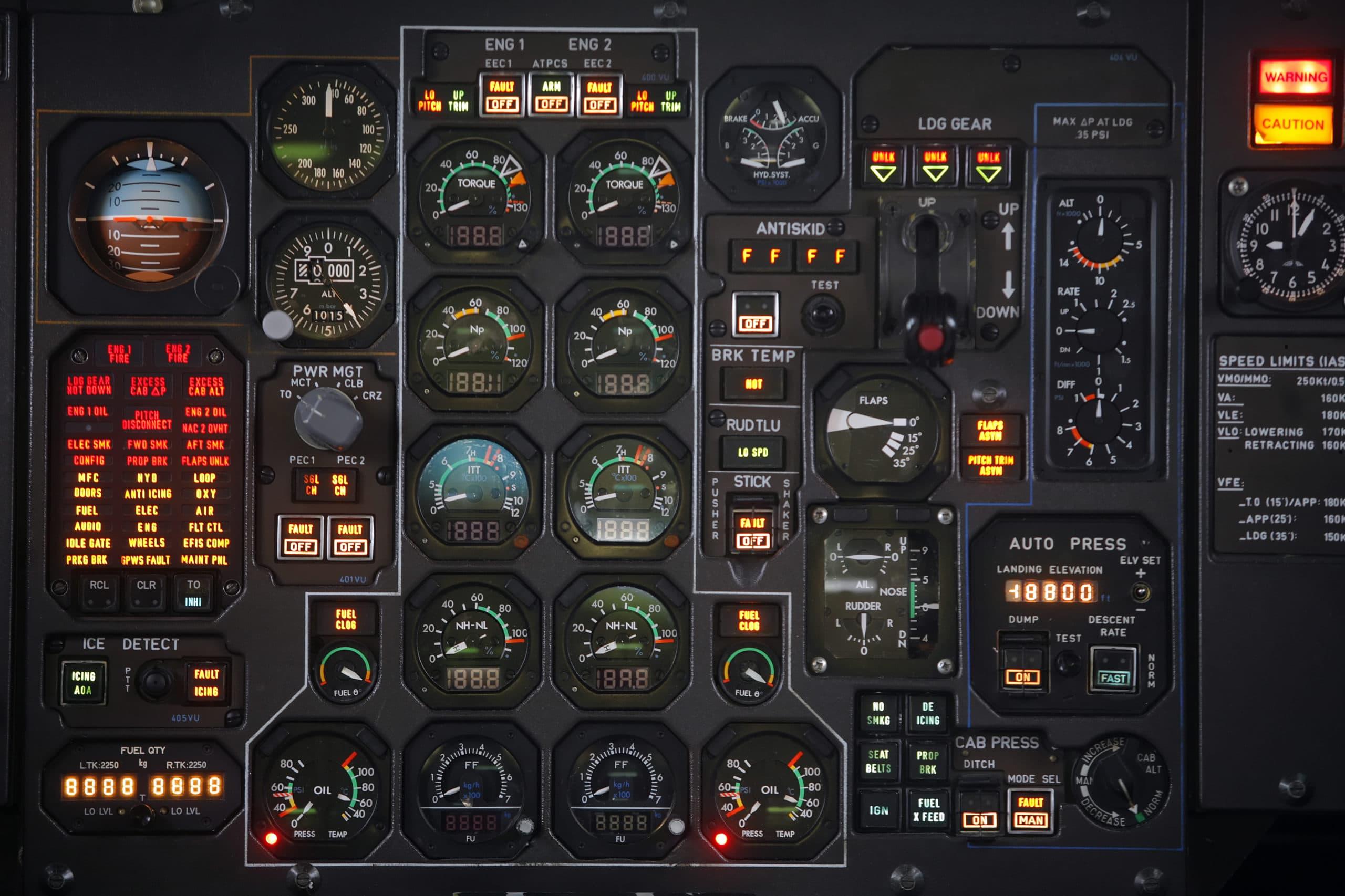 Control-Panel in einem Flugzeug-Cockpit